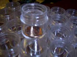 10 clear plastic screw top containers PERFECT pill box 1 wide 1 1/8