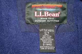 LL Bean Boy Navy Blue COAT Winter JACKET Fleece Hood 4 |