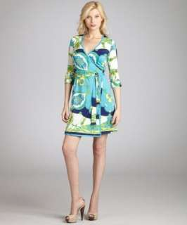 JB by Julie Brown blue and green crown print jersey wrap dress