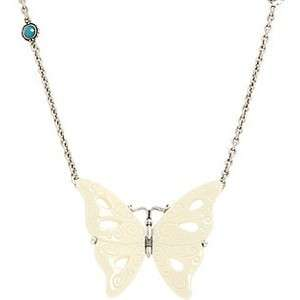 LUCKY BRAND JEWELRY Big White Carved Butterfly Necklace