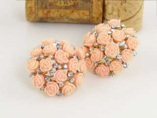 Premier Design Swarovski Crystal Pink Rose Lucite Stud Earrings