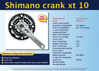 Shimano Crank Xt 10 speed Mountain Bike 175 Bicycle NEW