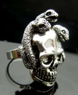 TL148 Big 3 Snakes Skull Punk Rock Gothic Biker Cuff Ring