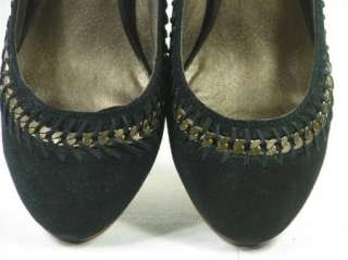 STEVE MADDEN LUXE Black Suede Pumps Heels Shoes 11 M