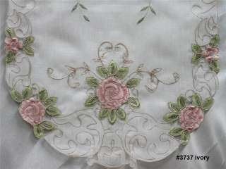Pink Rose Floral Sheer Placemat Table Runner Tablecloth #3737
