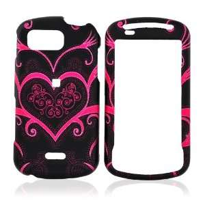 for Samsung Moment Rubberize Hard Case Pink Heart Black