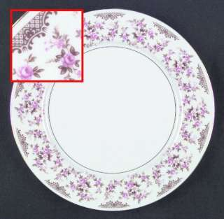 Set of 3 Royal Dinner Plates Pink Roses Brown Leaves