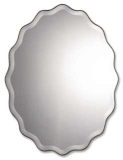 Wall Mirror   Large Antique Silver Oval Mirror with Ruffled Edges