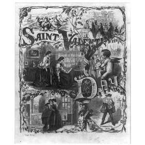 Saint Valentines Day,cards,mailman,1861,Holidays